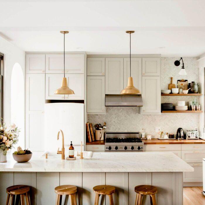 Gold Fixtured Farmhouse Kitchen