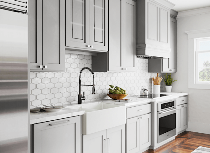 Modern Farmhouse Style Kitchen with Grey Cabinets