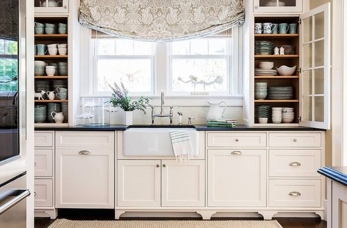 Bright Farmhouse Kitchen with open cabinets